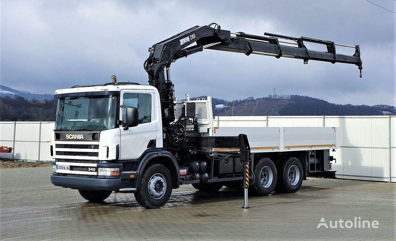 شاحنة مسطحة SCANIA 114G 340 Pritsche 6,10m +Kran *6x4*Topzustand!