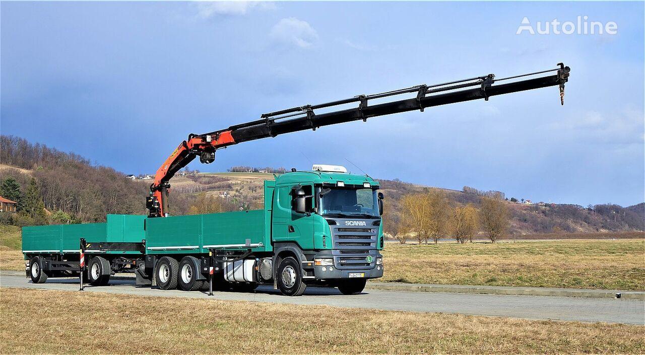 شاحنة مسطحة SCANIA R420 Pritsche 6,60m +Kran/FUNK+Anhänger! + العربات المقطورة شاحنة مسطحة