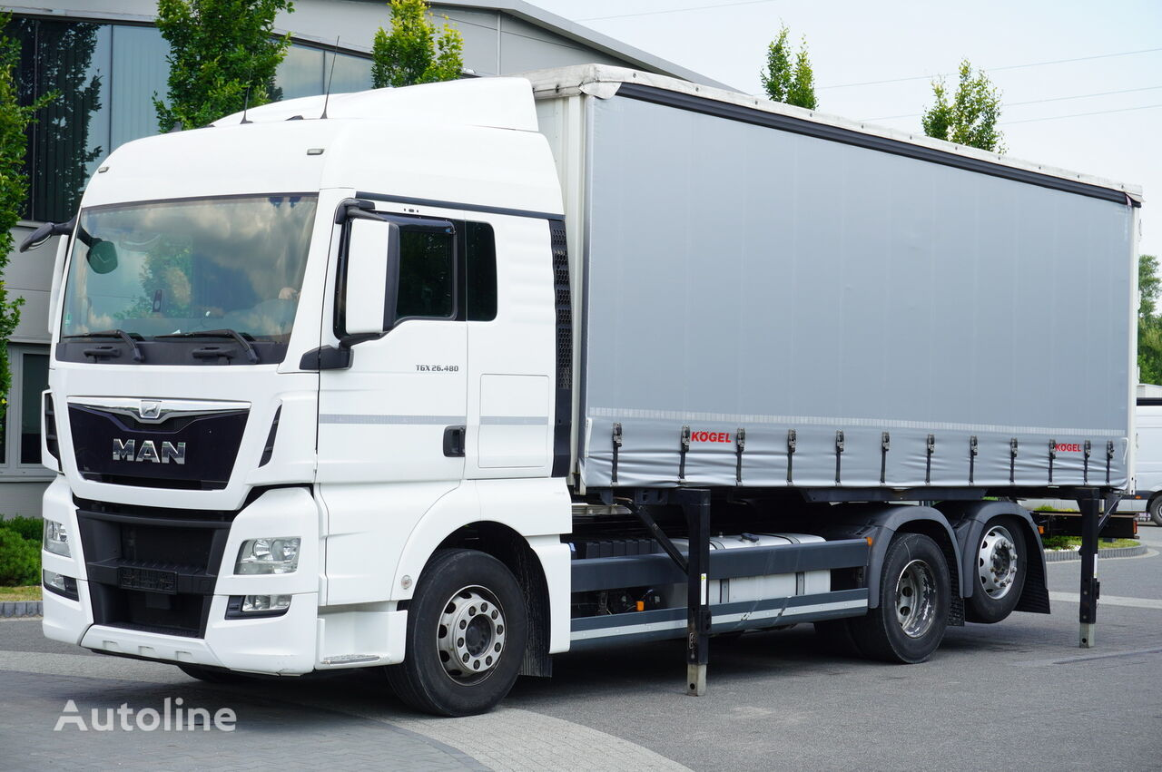 شاحنة ذات أغطية جانبية MAN TGX 26.480 XLX , E6 , 6X2 , Tarpulin 18 EPAL , height 2,55m