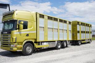 شاحنة نقل المواشي SCANIA R164 V8 , 6x2 , 2 hydraulic decks , 70m2 , live stock + العربات المقطورة شاحنة نقل المواشي